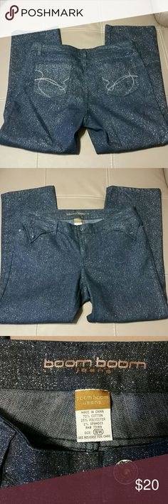 Boom Boom Jeans Dark wash with silver sparkles all over! Size 16W. Inseam 27. 73% Cotton, 25% Polyester, 2% Spandex. Great condition! boom boom Jeans Straight Leg