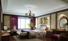 bedroom-curtains-with-purple-pocket-flat-panel-curtains-and-brown-wooden-frame-bed-and-brown-wooden-head-board-bed-and-brown-wooden-side-bed-drawers-table-and-white-double-round-table-lamps-and-class-728x443.jpg (728×443)
