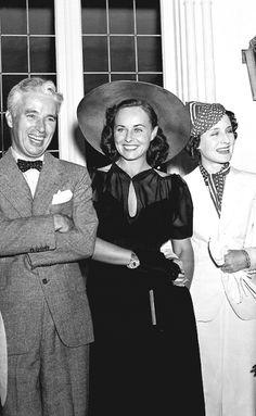 Charles Chaplin , Paulette Goddard and Norma Shearer - 1936