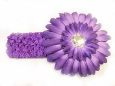 """3 in 1 Purple 1.5"""" Stretch Soft Crochet Headband With 4"""" Large Gerbera Daisy Flower Hair Clip For Baby Girls by PepperLonely. $5.55. 1.5"""" Crochet Headband Stretchable. 3 in 1 Purple Headband and Gerbera Daisy Flower Hair Clip. 4"""" Large Gerbera Daisy Flower With Hair Clip"""