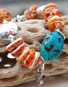 PHOENIX Handmade Turquoise and Orange Spiney Oyster by livilubaby, $97.00