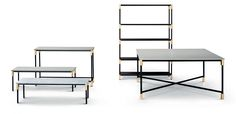 """""""Match"""" shelving, tables, console  -- designed by Paola Vellaellen Bernhardt 2015 for Artflex.  The wooden shelves (in chocolate) can be stacked. The tops of the tables and  console are available in marble. The tubular frame is black matt painted, and the joinders becomes a precious decorative element in brass or burnished."""