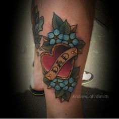 Old school dad heart flower tattoo full colour