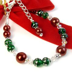Christmas Holiday Bracelet, Red Pearls, Green Glass, Adjustable Chain | PrettyGonzo - Jewelry on ArtFire