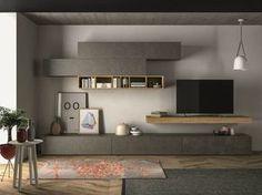 Sectional storage wall SLIM 105 by Dall'Agnese design Imago Design, Massimo Rosa Living Room Tv, Living Room Modern, Home And Living, Living Walls, Home Furniture, Furniture Design, Modular Furniture, Muebles Living, Family Room