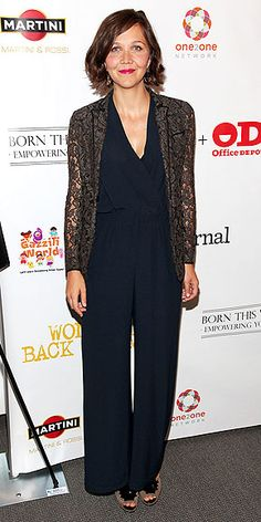 Maggie Gyllenhaal take note: Jumpsuit OR tacky grey lace blazer-NOT both.