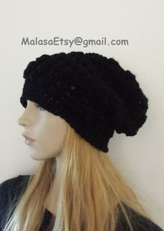 448a24aef45 Items similar to Beanie Slouchy Hat Hand Crochet Knit Fashion in Black  Womens Mens Teens Beret Slouchy Travel Hat The Perfect GIFT Cozy Beanie  CHEMO Unisex ...