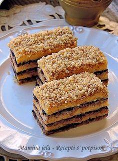 Mamina jela: Kocke od oraha, vanile i čokolade Cream Recipes, My Recipes, Sweet Recipes, Baking Recipes, Recipies, Bosnian Recipes, Croatian Recipes, Cupcake Recipes, Cookie Recipes