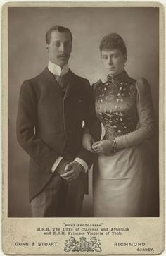 Engagement photo of Prince Albert Victor, The Duke of Clarence and Avondale and Princess Victoria Mary of Teck, 1890s. He died before they could be married and she married his younger brother George, Duke of York (later becoming King George V and Queen Mary).