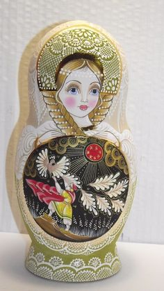 """Matryoshka 5 pieces,7.8 """"painting, by artist, Palekh lacquer miniature, potal"""