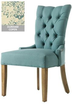 Custom Button Tufted-Back Dining Chair -  I love these, I love both the solid blue and the flowers.  Now I just need to find it cheaper.