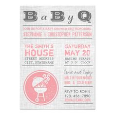 Vintage Pink Gray BBQ Girl Baby Shower Invitations