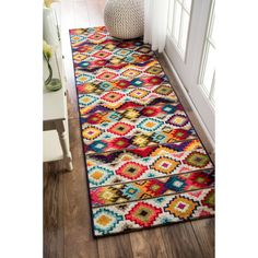 nuLOOM Retro Tribal Diamonds Multi Runner Rug x (Multi), Size x (Plastic, Abstract) Outlet Store, Hallway Carpet, Area Rugs For Sale, Shops, Contemporary Area Rugs, Modern Rugs, Patterned Carpet, Retro Home Decor, Online Home Decor Stores
