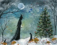 Orig Painting WITCH CAT WINTER CHRISTMAS HALLOWEEN GOTHIC FOLK ART TERRI FOSS   eBay