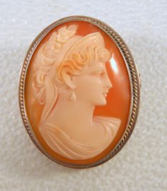 Antique Cameo Brooch Carved Shell 800 by CharmedCollectibles