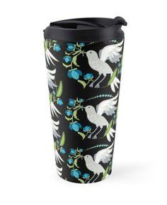 'Flowerlove Bird' Travel Mug by SannaKallio Flower Garlands, Victorian Era, Travel Mug, Retro Fashion, Coffee Mugs, Bird, Contemporary, Floral, Pattern