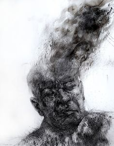 Available for sale from David Krut Projects, Diane Victor, The man who lost his head Smoke and charcoal drawing on paper, 24 × 19 in Charcoal Drawing, Elements Of Art, Celebrity Outfits, The Man, Artsy, Lost, Climate Change, Drawings, Artwork