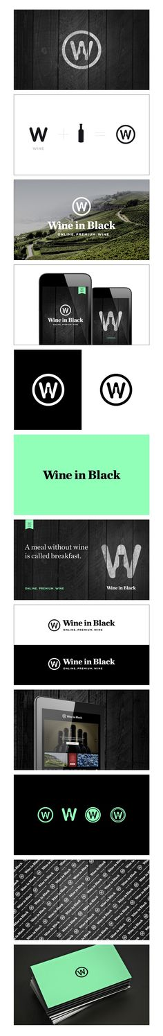 Wine in Black - simplistic logo, beautiful colour concepts, wood, field
