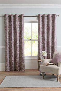 Mauve Luxe Metallic Damask Eyelet Curtains