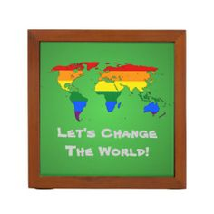 LGBT rainbow pride world map Desk Organizer