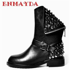 63.87$  Watch now - http://alihpr.worldwells.pw/go.php?t=32391053553 - New Fashion Female Cool Motorcycle Boots  Fashion Simple Zipper Boots Comfortable Bottom Ankle Boots for Women New Martin Boots 63.87$