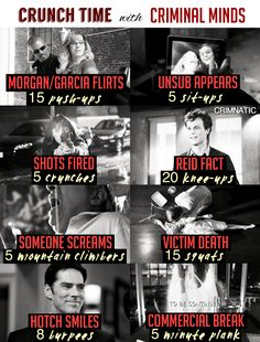 nothing is accidental Crunch Time Workout with Criminal Minds<br> Criminal Minds Workout, Criminal Minds Memes, Tv Show Workouts, Netflix Workout, Short Workouts, Exercise Workouts, Exercises, Morgan And Garcia, Spencer Reid Criminal Minds