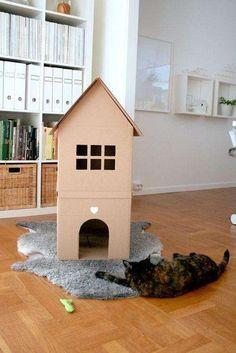 Cuccia per il gatto fai da te - Cuccia di cartone per il gatto