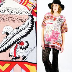 #Vintage #80s NATIVE AMERICAN #INDIAN print #OVERSIZED #tunic #shirt #blouse #top S/M/L/XL #NativeAmericanIndian #NativeAmerican #Oversize #Slouchy #Ebay #TrashyVintage $38.00