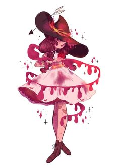 Lana Jay - A to Z of witches (Blood witch) Kawaii Drawings, Art Drawings, Drawing Art, Art Sketches, Character Design Cartoon, Character Art, Pretty Art, Cute Art, Witchy Wallpaper
