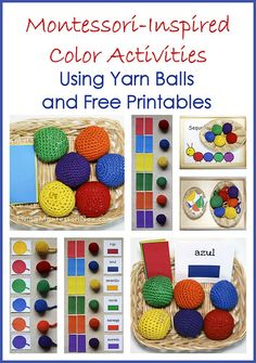 Montessori-Inspired Color Activities Using Yarn Balls and Free Printables (plus links to other free printables to use with spielgaben! Color Activities For Toddlers, Preschool Colors, Teaching Colors, Toddler Activities, Colour Activities, Addition Activities, Toddler Games, Color Games, Time Activities