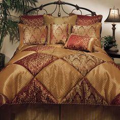 Shop for Sherry Kline Chateau Royale 8-piece Comforter Set. Get free shipping at… Gold Comforter Set, Modern Comforter Sets, Plum Bedding, Queen Comforter Sets, Linen Bedding, Bedding Sets, Bed Linens, Burgundy Bedding, Gold Bedding