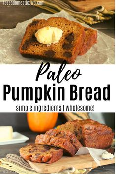 Wholesome and healthy, this pumpkin bread makes a great afternoon snack or healthy treat! Paleo Pumpkin Bread, Gluten Free Pumpkin, Healthy Pumpkin, Paleo Recipes Easy, Bread Recipes, Real Food Recipes, Baking Recipes, Paleo Breakfast, Breakfast Recipes