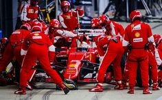 Vettel during his pivotal stop for inters