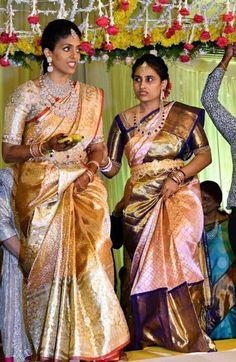 Half Saree Designs, Bridal Blouse Designs, Saree Blouse Designs, Kanjivaram Sarees Silk, Kanchipuram Saree, Designer Kids Wear, Half Saree Lehenga, Kids Dress Patterns, Bridal Silk Saree