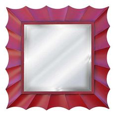 Sunburst Square Wall Mirror, Antique Chinese Red Color Finish