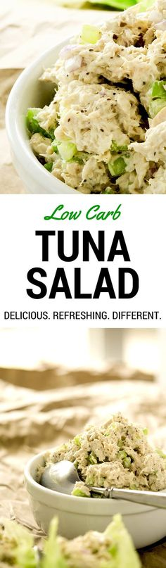 A deliciously different low carb tuna salad recipe chock full of the freshest ingredients. Make it for lunch or a delightful afternoon snack!