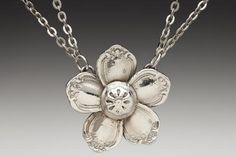 Made from vintage silverware... flower necklace
