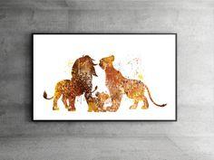 SALE! The Lion King family Mufasa, Simba,Disney Watercolor Art,Disney Nursery watercolor art,Baby Shower Gifts,Lion king nursery print,ET50