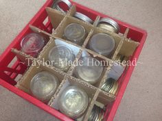 New canning jars are now sold in half boxes shrink-wrapped with plastic, I don't want to use them to store my empty jars. See what we did! #TaylorMadeHomestead - Canning Jar Storage - pint jars with rings Canning Jar Storage, Canned Food Storage, Canning Tips, Home Canning, Canning Recipes, Crate Storage, Storage Boxes, Plastic Milk Crates, Quart Jar