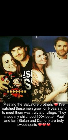 Meeting the Salvatore brothers  was truly amazing :) I've watched Vampire Diaries since I was in middle school and after 9 years, I finally got to meet them! It was a dream come true and I can't wait to see them all again next year! #VampireDiaries #TVDConvention #Nashville #IanSomerhalder #DamonSalvatore #PaulWesley #StefanSalvatore #SalvatoreBrothers