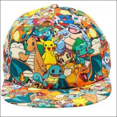 Nintendo-Pokemon-Pikachu-Squirtle-Charmander-Collage-Snapback-Baseball-Cap-Hat