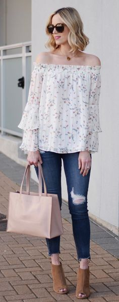 #spring #outfits White Flower Printed Blouse & Ripped Skinny Jeans & Brown Open Toe Booties