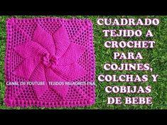 Cuadrado tejido a crochet para cojines, colchas y cobijas para bebe - YouTube