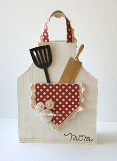Sweet Apron Shaped Card...with paper kitchen utensils. Would be cute as an invitation to a BBQ!