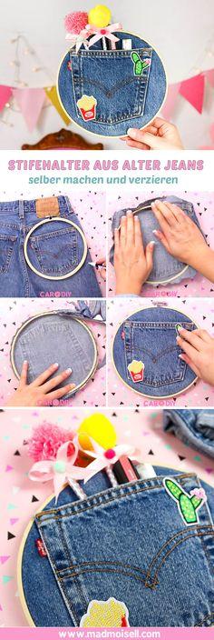 Klicke hier und erfahre, wie du einen süßen DIY-Stiftehalter ganz einfach aus einer alten Jeans selber machen kannst! Mit wenigen Handgriffen verwandelst du eine ausgediente Jeans in eine super süße, kreative und einfache DIY-Wanddeko verwandelt, die auch noch praktisch ist. Ein mega cooles Upcycling-DIY, oder?!