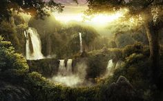 Deep jungle waterfalls by ADKmann on DeviantArt