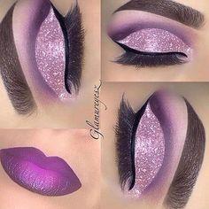 Eye Kandy's Double Bubble got this gorgeous cut crease www. - Eye Kandy's Double Bubble got this gorgeous cut crease www. Purple Eye Makeup, Glitter Makeup, Glam Makeup, Skin Makeup, Eyeshadow Makeup, Beautiful Eye Makeup, Pretty Makeup, Love Makeup, Lila Make-up