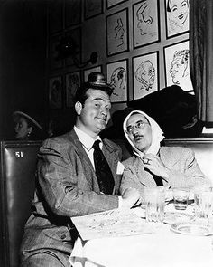 Red Skelton and Groucho Marx dining, and goofing off, at the Brown Derby