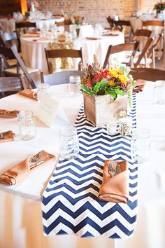 Tables mixed with chevron & gold sequin runners | Fall Rustic Glam Nashville Wedding In Earthy Colors of Brown, Cream, Navy & Orange | Photograph by BSG Photography  http://storyboardwedding.com/fall-nashville-rustic-glam-wedding/