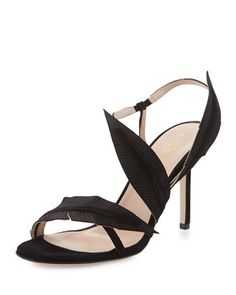 Strappy Suede Sandal W/Leaf Detail, Black by Sergio Rossi at Neiman Marcus.